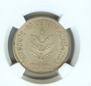 Palestine 1934 100 Mils Ngc Ms62 Rare In Bu Looks 64, photo
