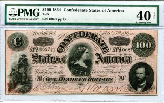 1864 $100 Dollar Bill Confederate States Pmg 40 Epq Extremely Fine T - 65 Csa photo