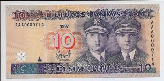1997 Lithuania 10 Litai Note P.  59 Unc Prefix Aaa And Low Serial Scarce photo
