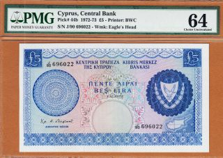 Cyprus 5 Pounds 1972 Pick - 44b Ch Unc Pmg 64 photo