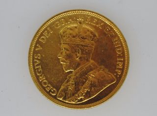 1913 Canadian Five (5) Dollar Gold Coin Tone.  241 Agw Only 98,  832 Minted 36 photo