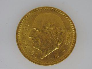 1908 M Mexico Gold 10 Peso Gold Key Date.  2411 Agw Low Mintage 33 photo