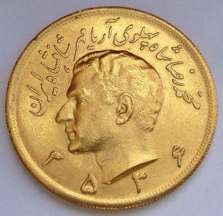 5 Gold Pahlavi 2536 (1977) 40.  68 Gr.  1.  1695 Oz.  0.  900 Gold Very Rare photo
