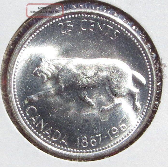 1867 1967 Silver Canada 25 Cents Quarter Dollar Bobcat Lynx Cougar Big Cat