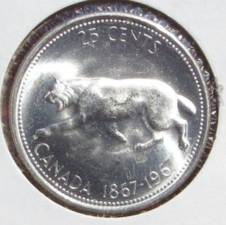 1867 - 1967 Silver Canada 25 Cents Quarter Dollar Bobcat Lynx Cougar Big Cat photo