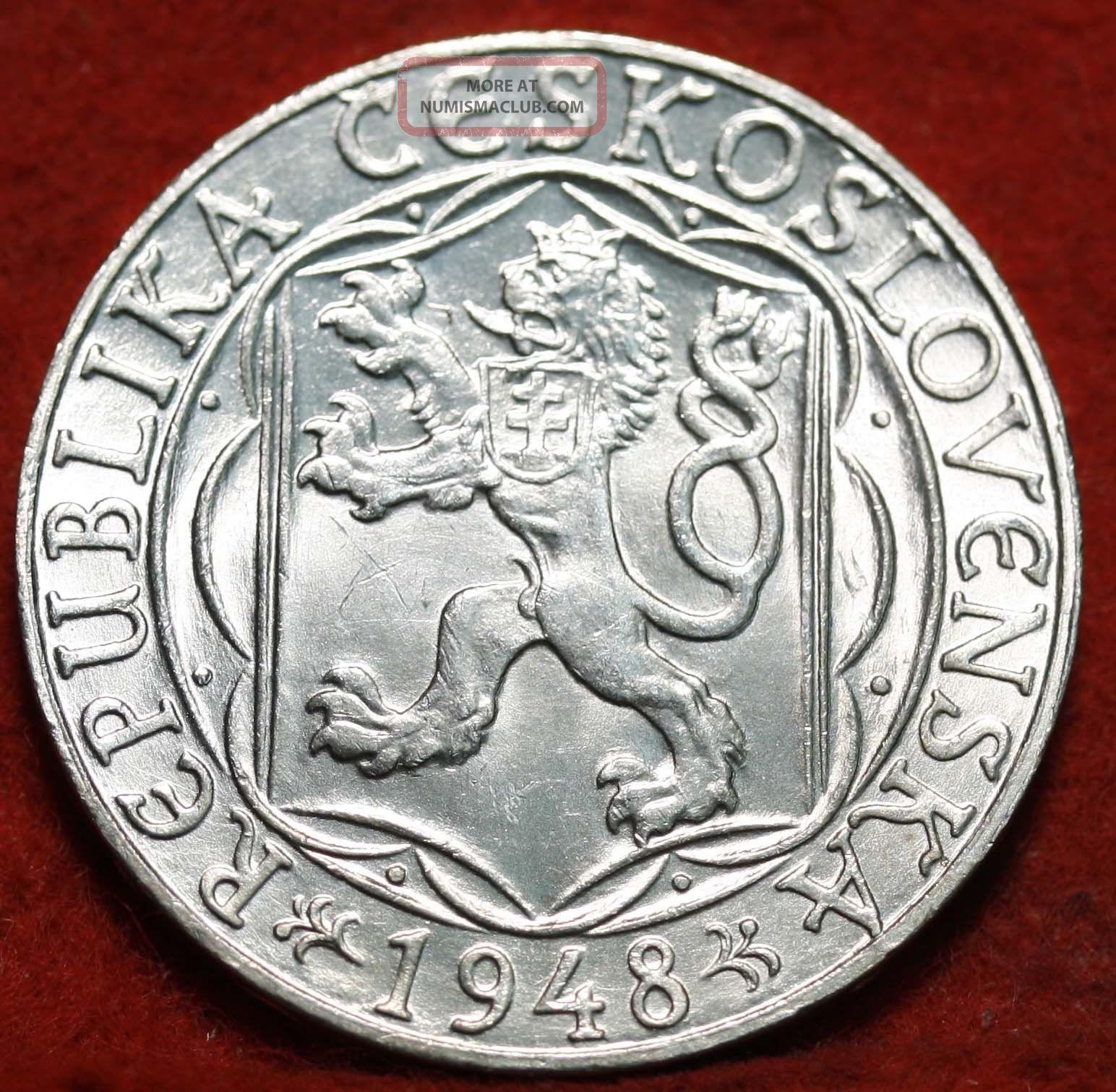 Uncirculated 1948 Czechoslovakia Silver 100 Koruns Foreign Coin S/h Europe photo