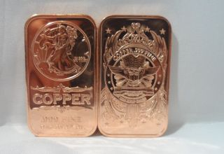 1oz.  Walking Liberty Ingot.  999 Fine Copper Bullion Art Bar photo