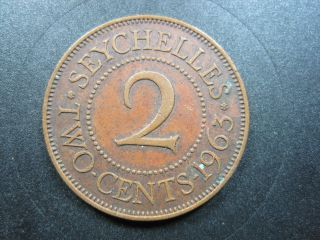 Seychelles 2 Cent 1963 Bronze British Elizabeth Ii Africa World Money Coin photo