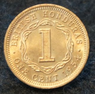 1954 British Honduras 1 Cent In Bu Red Mintage Only 200,  000 Rare photo