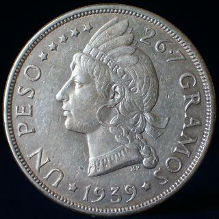 Dominican Republic.  1939 Silver 1 Peso.  Scarce. photo
