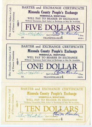 (9333) 1930 ' S (?) Missoula Mt Barter & Exchange Certificates (seven Diff) photo