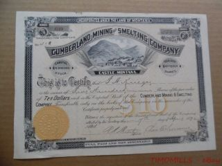 1892 Cumberland Mining & Smelting Company Castle Montana Stock Certificate Gold photo