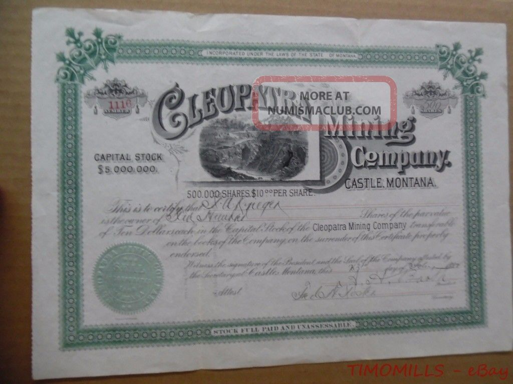 1890 Cleopatra Mining Company Castle Montana Stock Certificate Gold Silver Mine Stocks & Bonds, Scripophily photo