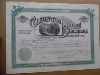 1890 Cleopatra Mining Company Castle Montana Stock Certificate Gold Silver Mine photo
