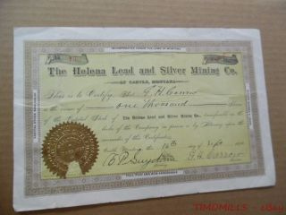 1890 Helena Lead And Silver Mining Co.  Castle Montana Stock Certificate Antique photo