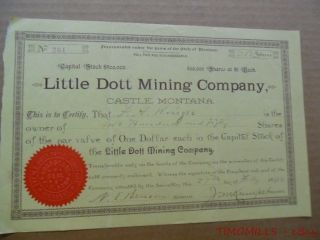 1892 Little Dott Mining Co Castle Montana Antique Gold Mining Stock Certificate photo