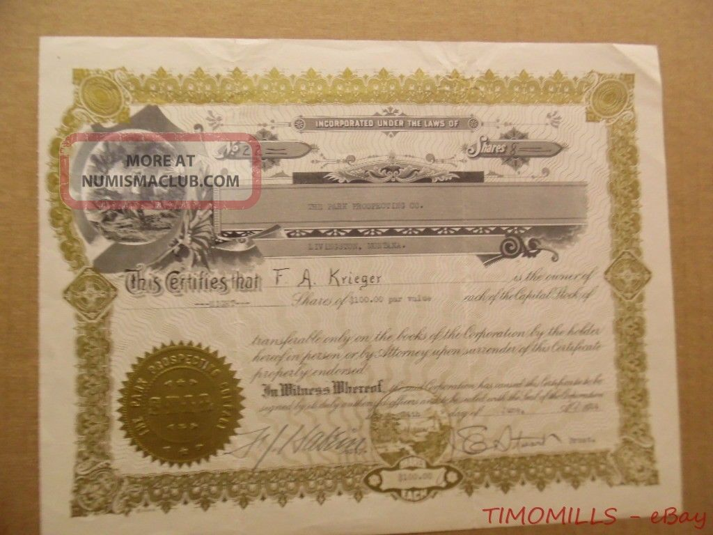 1924 Park Prospecting Co Livingston Montana Mining Stock Certificate Gold Silver Stocks & Bonds, Scripophily photo