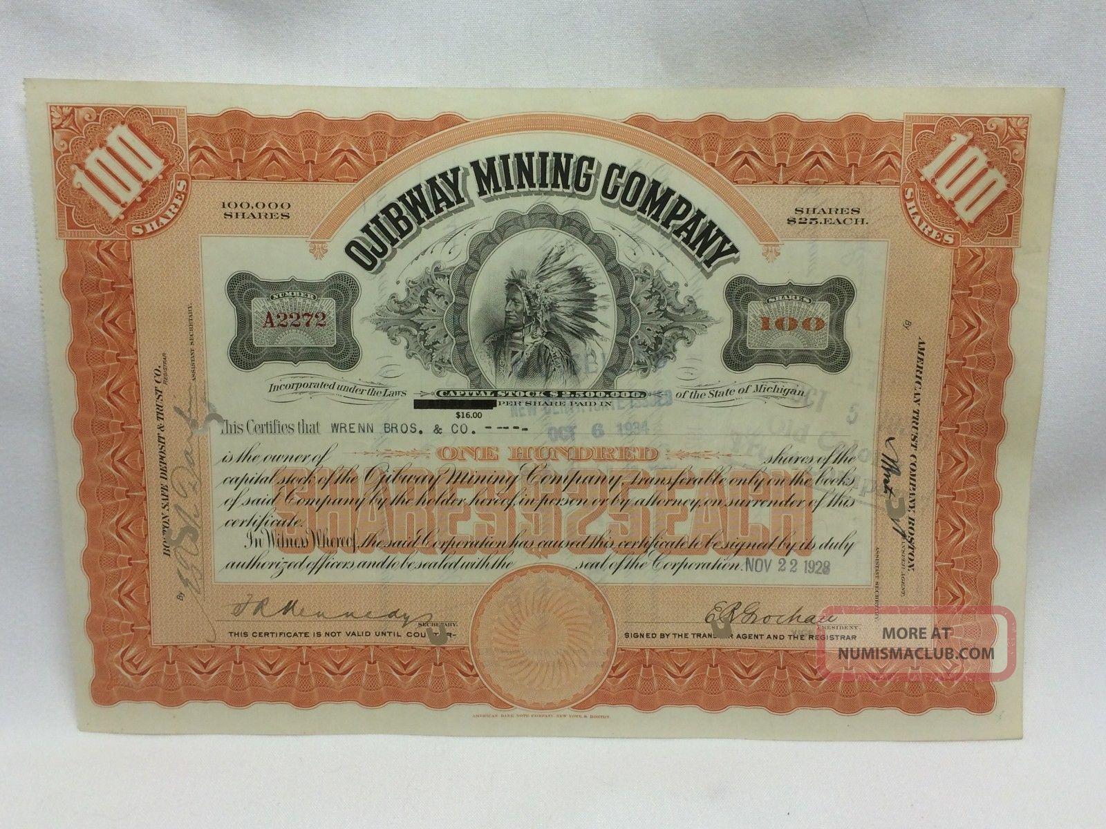 Ojibway Mining Company Stock Certificate 100 Shares Michigan Abnc Issued 1928 Stocks & Bonds, Scripophily photo