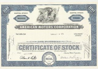 1968 American Motors 100 Shares Stock Certificate Rambler Amx Javelin Jeep photo