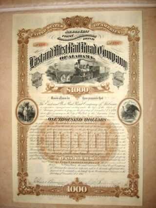 Stock Bond Certificate - The East & West Rr Co.  Of Alabama 6 Coupon - 1886 photo
