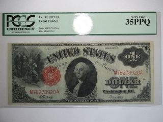 1917 $1 Legal Tender Note Pcgs 35 Ppq photo