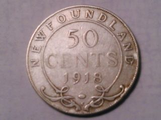 1918 - C Newfoundland 50 Cents Coin (92.  5 Silver) photo
