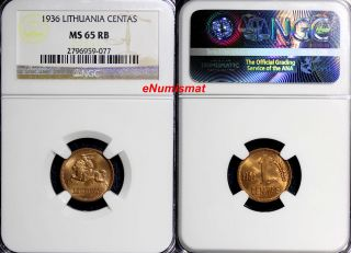 Lithuania Bronze 1936 Centas Ngc Ms65 Rb Bright Red One Year Type Km 79 photo