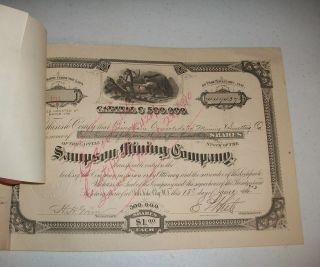 1901 Sampson Mining Company Stock Certificate 447,  437 Shares Bingham Utah photo