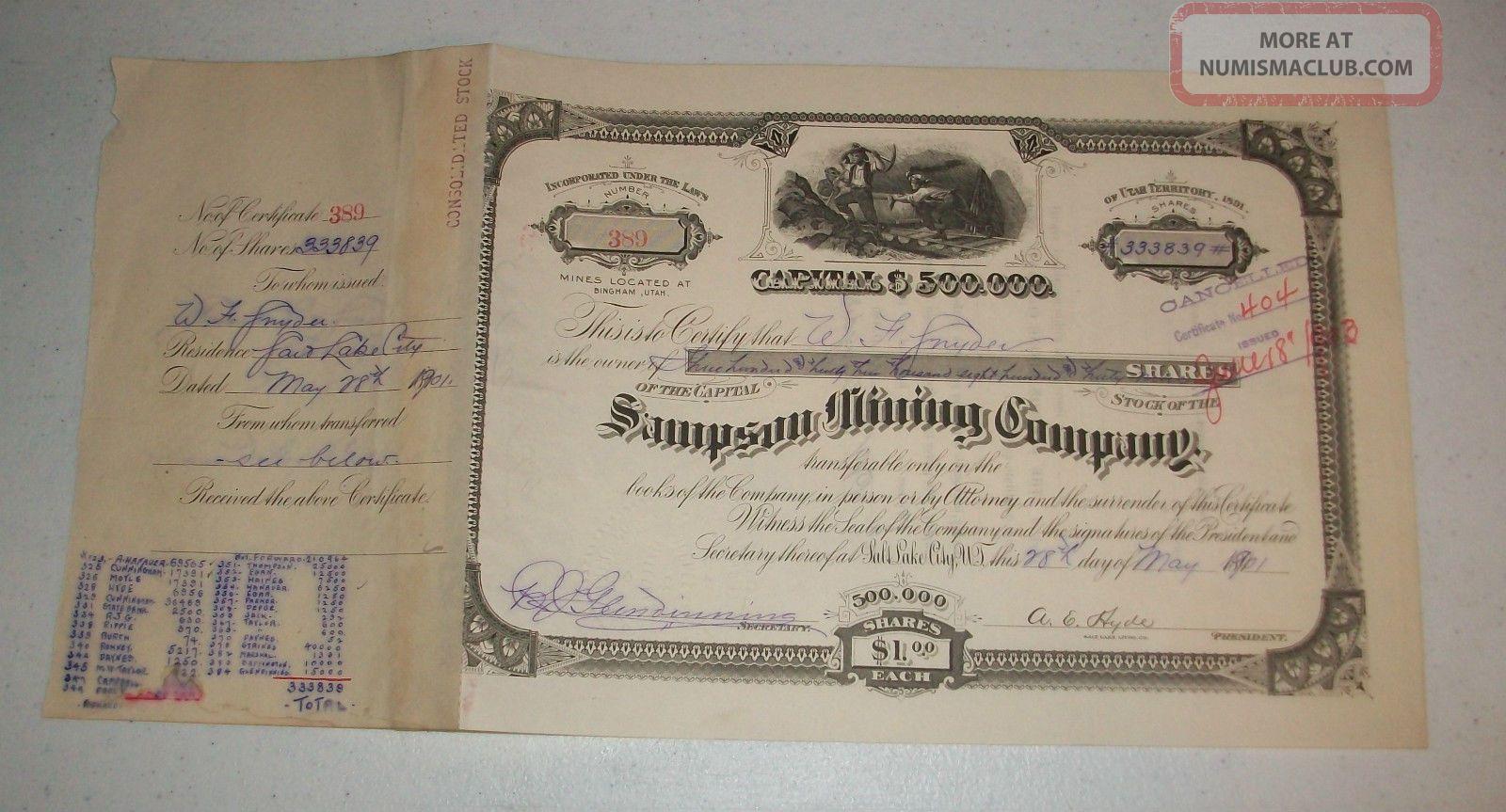 1901 Sampson Mining Company Stock Certificate 333,  839 Shares Bingham Utah Wow Stocks & Bonds, Scripophily photo
