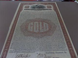 1930 Insull Utility Investments Bond Certificate Illinois photo