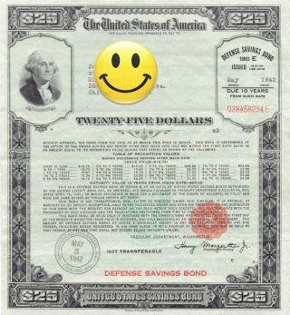 1942 Us 25 Dollars $25 E Series Wwii War Savings Bond Washington Chicago,  Il photo