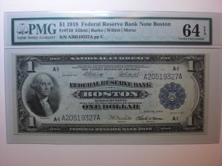 Fr 710 $1 1918 Federal Reserve Bank Note Boston - Pmg 64epq - Uncirculated photo