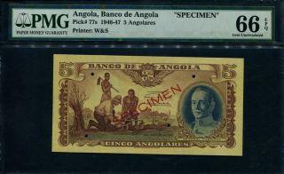 Angola 1947,  5 Angolares Specimen P - 77s,  Pmg66 Gem Unc photo
