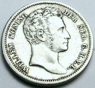 Rare 1834 Dutch East Indies (java Sumatra Etc. ) Silver 1/4 Gulden Lustrous Xf - Au photo