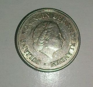 Netherlands Antilles 1954 1/4 Gulden Silver Coin Km - 4 Xf,  Has Small Facial Digs photo