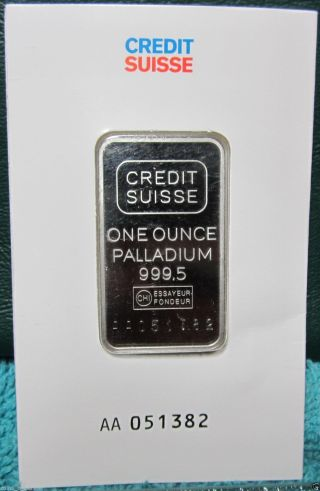 1 Ounce Palladium Credit Suisse Bar 999.  5 (in Assay) Aa 051382 photo