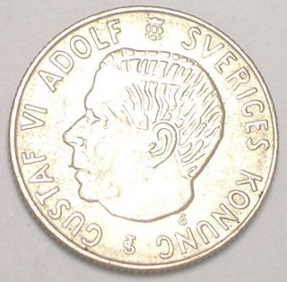1958 Sweden Swedish 1 Krona Crowned Arms Silver Coin Vf photo
