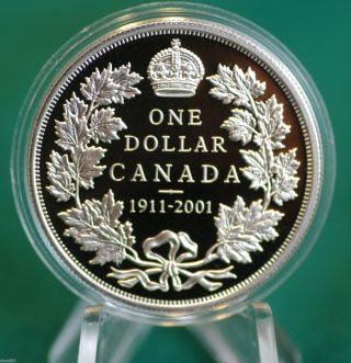 2001 Canada Proof Silver Dollar - 90th Anniversary Of The Silver Dollar photo