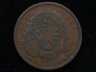 Lower Canada 1842 One Cent Token Circulated Bank Of Montreal On Ribbon photo
