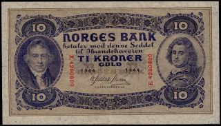 Norway 10 Kroner 1944 Almost Au Luxus,  Only A Vertical Fold Wonderful See Photo photo