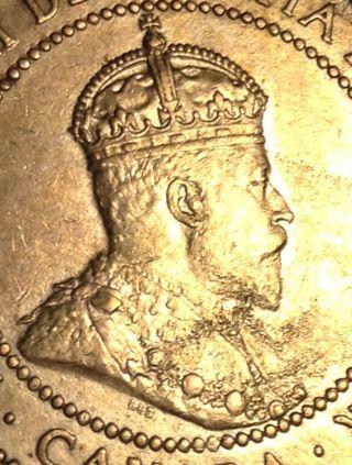 1909 King Edward Vii Canada Canadian 1 Large Cent Look photo