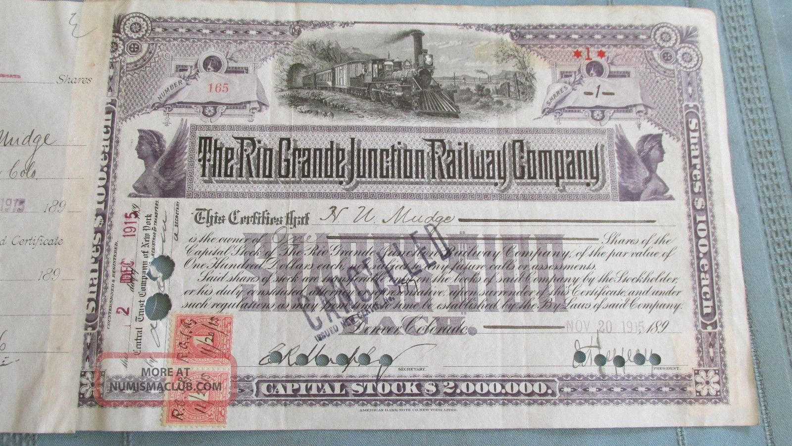 Rio Grande Junction Railway Company Stock Certificate - Issued & Signed 1915 - Colo. Transportation photo