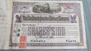 Rio Grande Junction Railway Company Stock Certificate - Issued & Signed 1915 - Colo. photo