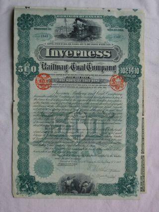 Canada 1902 Inverness Railway & Coal Co $500 / £102 Bond - Nova Scotia photo