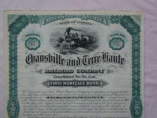 1880 Evansville & Terre Haute Railroad $1000 Bond photo