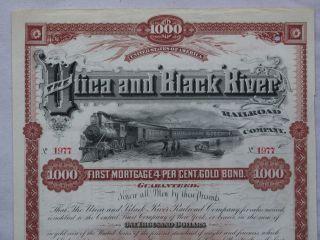 1890 Utica & Black River Railroad $1000 Bond photo