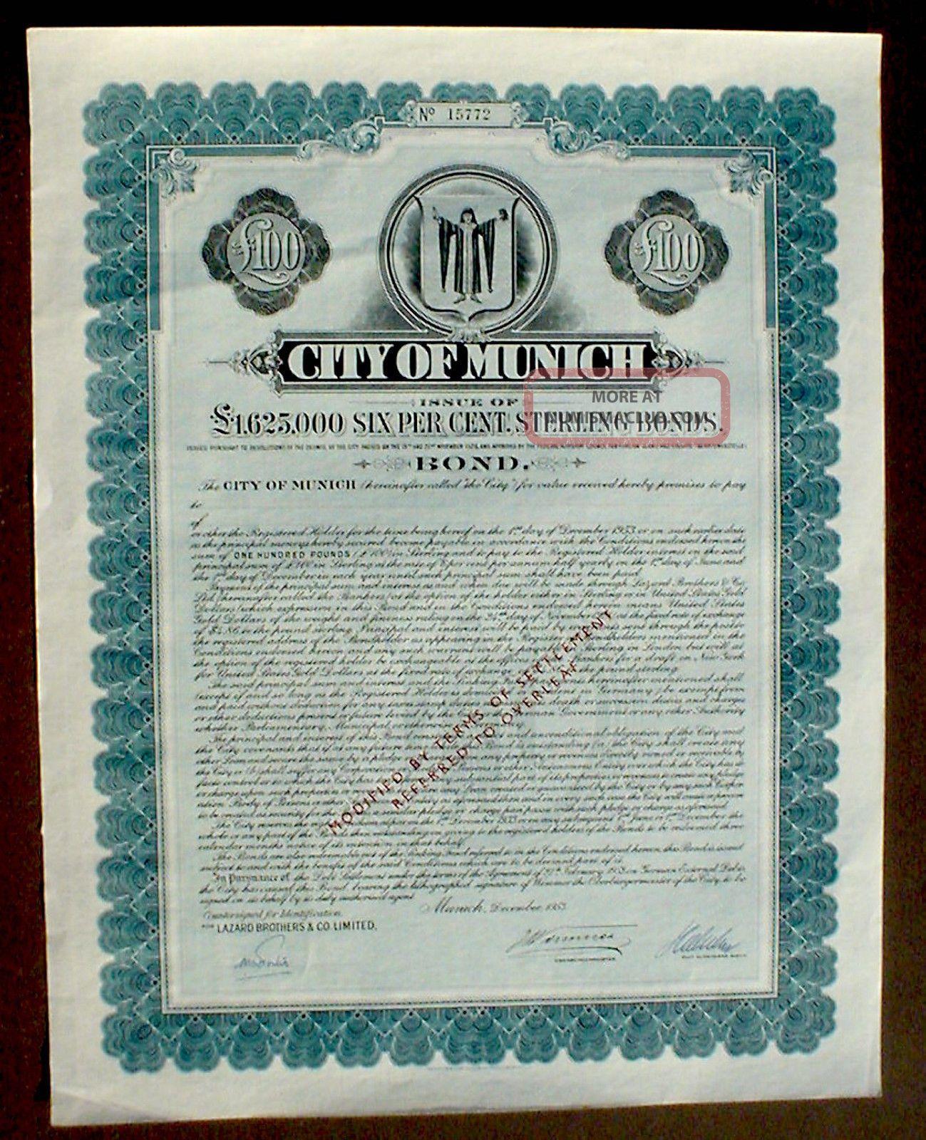 German Government 6 Bond City Of Munich 100 Pound Sterling 1953 Uncancelled Stocks & Bonds, Scripophily photo