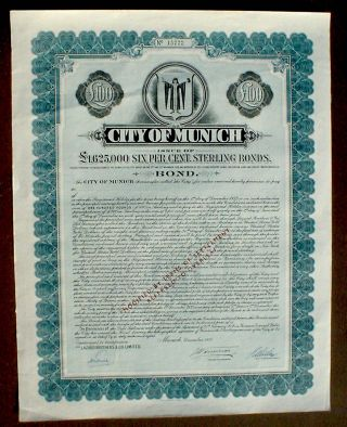 German Government 6 Bond City Of Munich 100 Pound Sterling 1953 Uncancelled photo