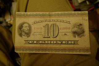 Old Danish Denmark Ti Ten 10 Kroner Currency Bill photo