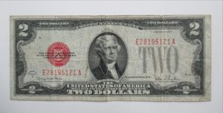 1928 G Red Seal Note $2 Two Dollar Bill United States,  Excellent; Ea Block photo